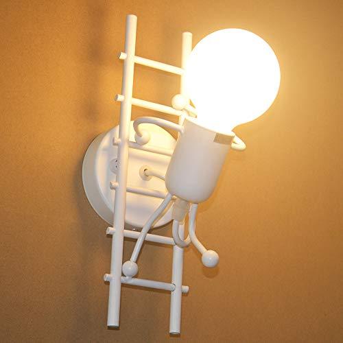 Humanoid Creativo Lampada da Parete Interno Applique da Parete Moderna Lampada a Muro Applique Candelabro E27 per Camera da Letto, Soggiorno, Camera per Bambini, Corridoio, Scala (Bianco)