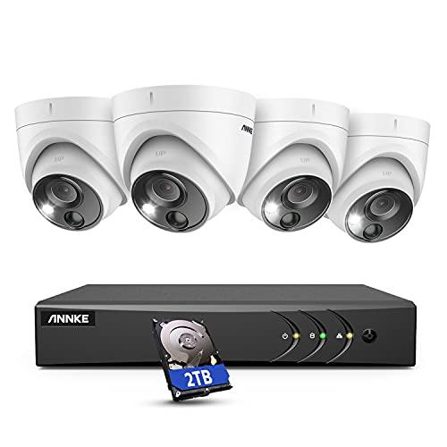 ANNKE 5MP Überwachungskamera Set 5MP 8ch DVR mit 4 x 5MP PIR Kameras IP67 Wasserdicht,visueller Alarm, 100 Fuß Nachtsicht, H.265 Pro+ Codierung,2TB Festplatte für Outdoor, Innen, Haus Sicherheit