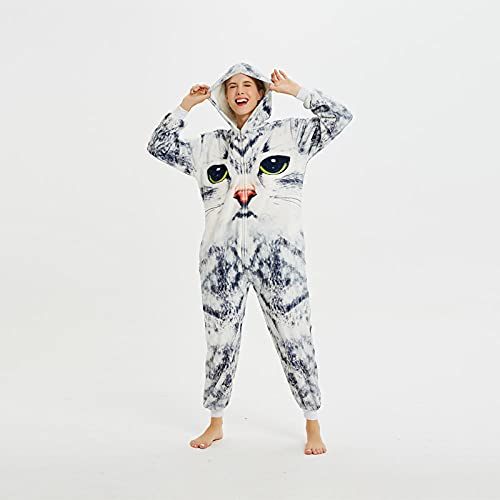 WEIYIing Adulto de una Pieza Pijamas 3D Gato Animal Onesies Ropa de Dormir Pijamas Unisex Cosplay Dibujos Animados Navidad Halloween Traje de acción de Gracias-S