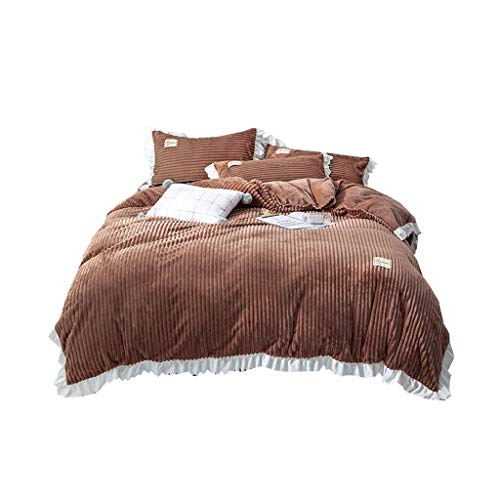 XXT Modestars Vierteiliger Bett-Rock, Bettdecke, Bett-Rock-Bett-Abdeckungs-Staubschutz, nach Hause gefalteter dreidimensionaler Bett-Rock Textil (Color : Brown, Size : 2.0m*2.2m)