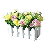 RIsxffp Dekorativer Blumenstrauß aus Holz, künstliche Blumen, Gartenzaun, Basteln, Partydekoration, Urlaub gelb Pink