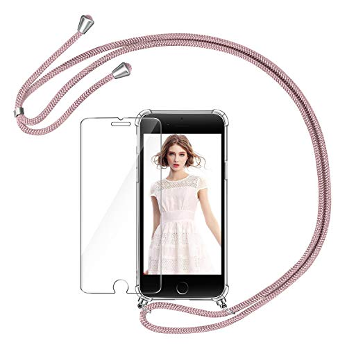 AROYI Funda con Cuerda para iPhone 7 Plus/8 Plus + Protector Pantalla, Carcasa Transparente TPU Silicona Case con Colgante Ajustable Collar Correa de Cuello Cordón para iPhone 7 Plus/8 Plus - Oro Rosa