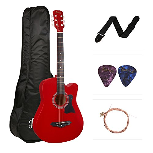Juârez Acoustic Guitar, 38 Inch Cutaway, JRZ38C with Bag, Strings, Pick and Strap, Red