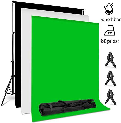 amzdeal 2m * 3m Hintergrund Ständer-Support-System, 3pcs 2m * 1.6m Hintergründe (weiß, schwarz, grün) Stativ Einstellbar von 68-200cm Hintergründe für Portrait, Produkt Fotografie und Videoaufnahme