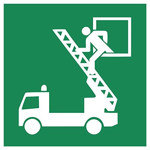 E017 Sicherheitsaufkleber für Rettungsausstieg | Nachleuchtend nach DIN 67510 in grün | Selbstklebend Folie für Betriebe, Produktion & Kliniken | 150 x 150 mm | PlottFactory