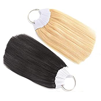 RemeeHi Hair Color Rings 100% Human Hair Swatches White Buckles Testing Color Samples Hair Color 30 Strands Platinum Gold 9°