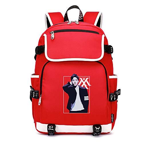Vbggorgkjo Monsta X Mochila Pareja Ordenador Bolsa Estudiante Mochila de Moda Salvaje Unisex (Color : Red06, Size : 37 X 16 X 45cm)