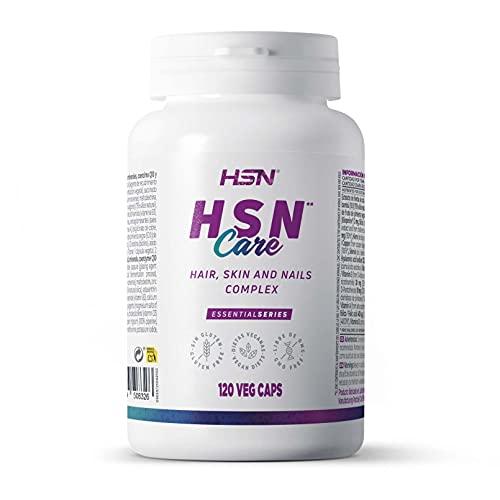 HSN Care Cabello, Piel y Uñas de HSN   Hair Skin and Nails Complex   Suplemento para el Crecimiento del Cabello y Mantenimiento de la Piel y Uñas   No-GMO, Vegano, Sin Gluten   120 Cápsulas Vegetales