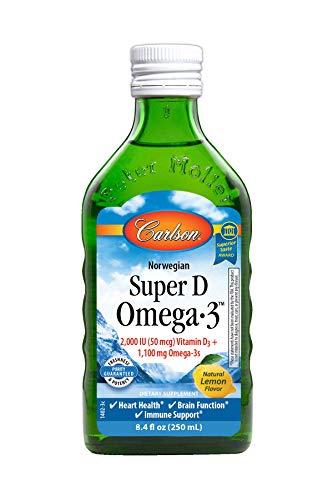 Carlson - Super D Omega-3, Wild-Caught Norwegian Arctic Cod Liver Oil, 2000 IU (50 mcg) Vitamin D3, 1100 mg Omega-3s, Sustainably Sourced Nordic Fish Oil Liquid, Lemon, 250 ml