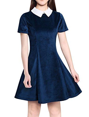 Allegra K Damen A Linie Kurzarm Panel Bubikragen Minikleid Kleid Blau S