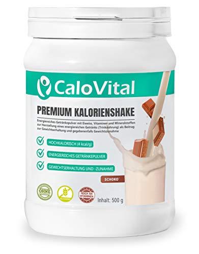 Trinknahrung hochkalorisch für Gewichtszunahme | Kohlenhydrate & Eiweiß als Kalorien Shake | Hochdosiert mit vielen Vitaminen | CaloVital - Premium Qualität aus Deutschland (Schoko 500g)