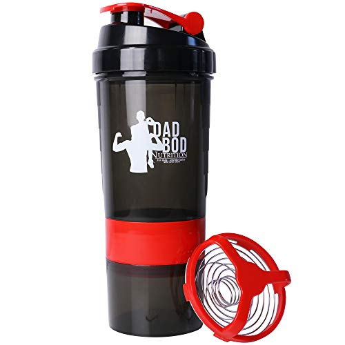Dad Bod Nutrition Funny Protein Shaker Bottle 3 Part with Storage Red Trim White Label (Red Trim)