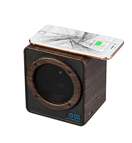 Seville Classics ComplexCube Wireless Charger Touch Speaker Near-Field Phone Amplifier with Clock, Darkwood