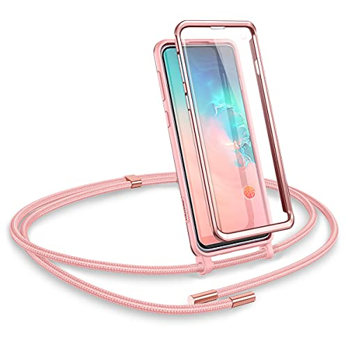 SURITCH Funda con Cuerda para Samsung S10, Carcasa TPU Silicona Case con Protector de Pantalla con Colgante Ajustable Collar Correa de Cuello Cordón con Samsung Galaxy S10 (Oro Rosa)
