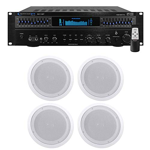 "Technical Pro RX113 1500w Home Theater Amplifier Receiver+4) 8"" Ceiling Speakers"