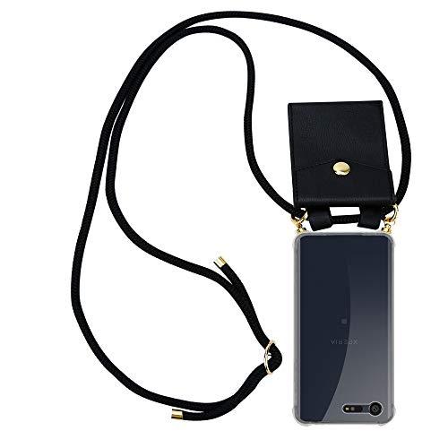 Cadorabo Handy Kette für Sony Xperia X Compact in SCHWARZ - Silikon Necklace Umhänge Hülle mit Gold Ringen, Kordel Band Schnur & abnehmbarem Etui – Schutzhülle