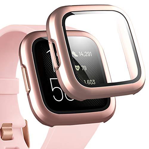 Miimall Funda Compatible con Fitbit Versa 2 Cristal Vidrio Templado, [PC Case] [HD Película] Carcasa Protectora de Pantalla Duro para Fitbit Versa 2 - Oro Rosa