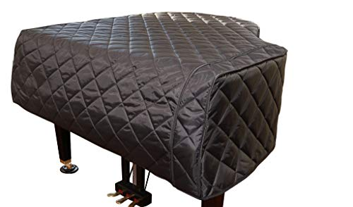 Grand Piano Cover/Baby Grand Piano Cover - Fits 5'8' - 5'9' Black Quilted Custom Made to Your Piano Size| Protective Plush Piano Cover | Bundle with L&L Design Piano Topper (2 Items) Custom Made