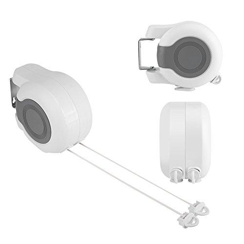 KSUDE Tendedero retráctil, resistente retráctil, cuerda de doble cuerda telescópica, cuerda de tendedero para secado en interiores y exteriores
