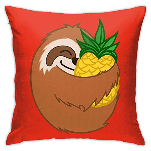 Hangdachang Throw Pillow Covers Pineapple Sloth Sloth Polyester Cushion Square Cases Pillowcases Sofa Home Decor 18 x 18 Inch