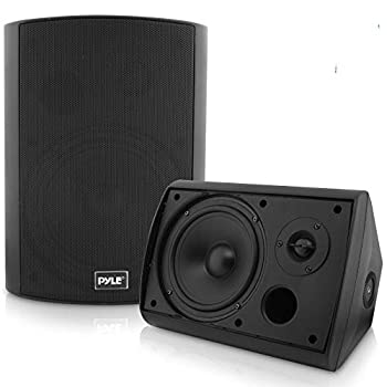 Pyle Pair of Wall Mount Waterproof & Bluetooth 6.5   Indoor/Outdoor Speaker System with Loud Volume and Bass  Pair Black PDWR62BTBK