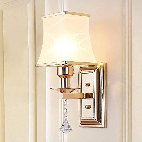 ZHLFDC Dormitorio moderno rústica lámpara de pared de cabezal único, sala de estar, Pasillo Interruptor americano del país nórdico Moda vidrio esmerilado Crystal LED con la lámpara de pared del pasill