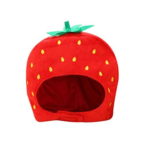 Serria® Schön Erdbeer-Kopfbedeckung Erdbeerhut niedlichen Ohr Hut Kappe Kopfbedeckung Plüsch Geschenk Lustige Kostüm Jester Hut Fancy Dress Party Zubehör Kopfbedeckungen