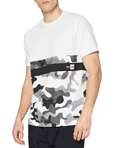 Under Armour UA Camo Border SS T Camiseta de Manga Corta, Hombre, Blanco (100), M