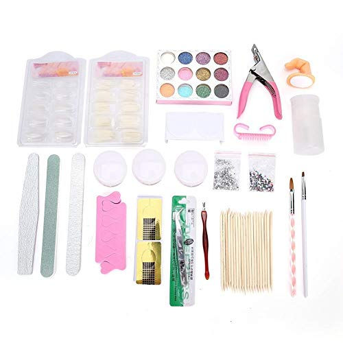 Dingln DIY Nail Art Set Acrylic Powder Nail Tips Brush Nail Art Tools Kit for Home Nail Salon