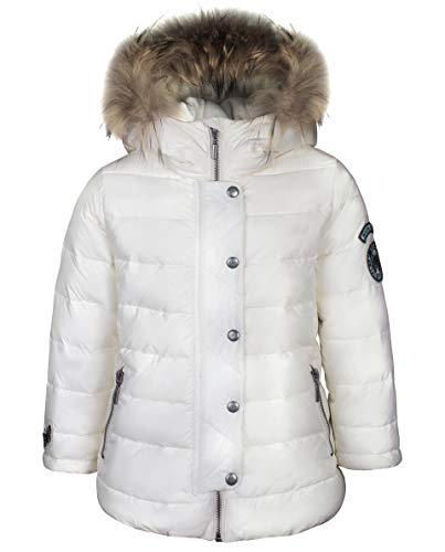 Guliver - Chaqueta de invierno para niña, con parches y capucha, 74 80 cm 86 92 cm, color blanco
