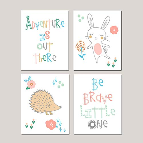 Canvas Wall Art Prints for Girl Woodland Nursery Woodland Nursery Bunny Nursery Tribal Nursery Adventure Nursery Hedgehog Decor Ready to Hang Printing Gift for Home Decoration 8x12, 4 Panels
