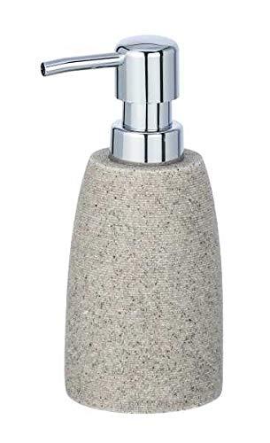 WENKO Seifenspender Goa, nachfüllbarer Pumpspender für Flüssigseife, Lotion oder Spülmittel, aus schwerem Kunststein (Polyresin), im natürlichen Stein-Look, Ø 7.4 x 10.5cm, Füllmenge 210ml, Hellgrau