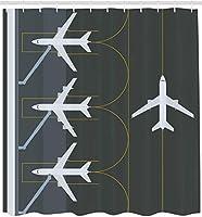 空港シャワーカーテン航空をテーマにした飛行場の布生地に着陸した駐車中の飛行機の簡単なイラストバスルームの装飾180X180CM(71X71IN)