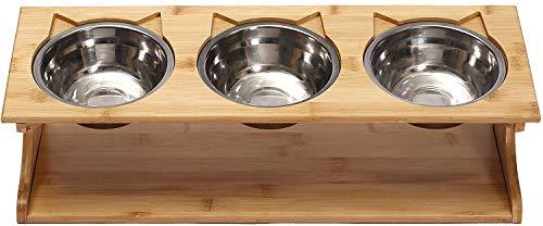 INSTO Tazón de Mascotas Cat Mesa de Comedor Rainsed Dog Cat Feeder Soporte Sólido con un Tazón de Acero Inoxidable para Gatos Y Dientes Fácil de limpiar/Triple Bowls