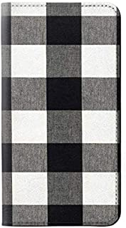 RW2842 Black and White Buffalo Check Pattern PU Leather Flip Case Cover for iPhone 11 Pro