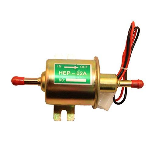 Bomba de combustible eléctrica 2.5-4 PSI Bomba de combustible universal Entrada y salida de 5/16 pulgadas Bomba de combustible de 12v para motor de carburador HEP-02A