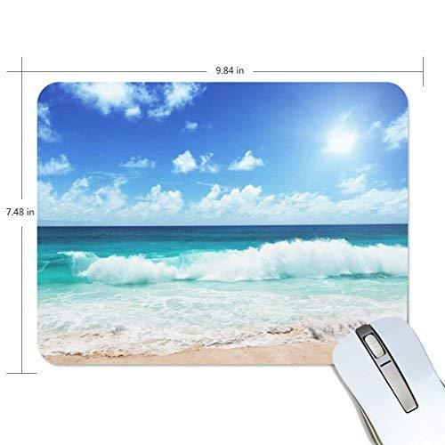 "ZZKKO Bright Ocean Sea Waves Beach Theme Non-Slip 9.84""(L) x7.48""(W) x0.2""(H) Rubber Mouse Pad Mat for Home Office Laptop Computer Desktop Keyboard"