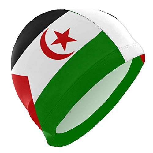 Einst Gorro de natación niños y Adultos, diseño de la Bandera del Sáhara Occidental, cómodo Gorro de baño para Pelo Corto y Largo