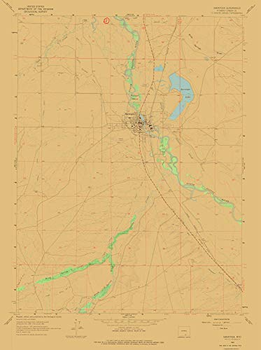 MAPS OF THE PAST Topo Map - Saratoga Wyoming Quad - USGS 1961-23.00 x 30.87 - Glossy Satin Paper