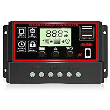 [2021 Upgraded] 30A Solar Charge Controller Black Solar Panel Battery Intelligent Regulator with Dual USB Port 12V/24V PWM Auto Paremeter Adjustable LCD Display  30a