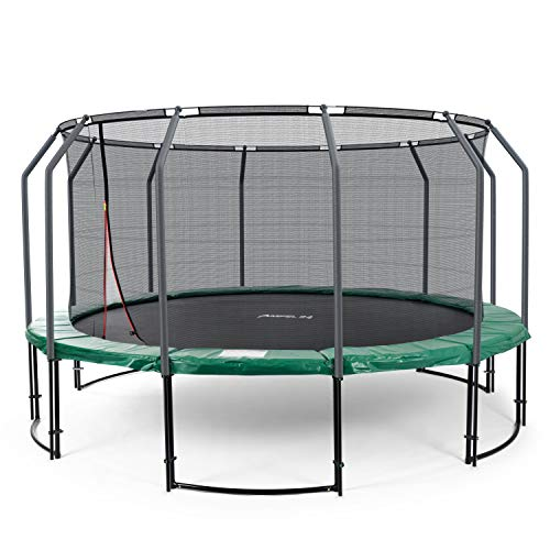 Ampel 24 Deluxe Trampolin 490 cm grün komplett mit innenliegendem Netz, Belastbarkeit 120 kg, Sicherheitsnetz mit 12 Stangen