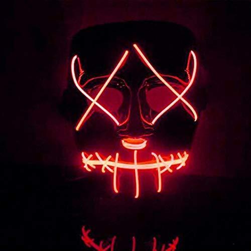 OHQ máscara Halloween Sangrienta Cara Horror Iluminar máscara LED Purge Movie EL Wire DJ Party Festival Halloween Costume MáScara Cosplay Halloween Almohada Halloween Juguete (Rojo)