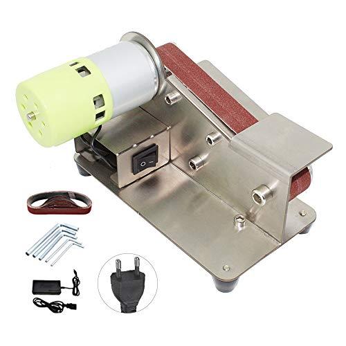 Kecheer Mini Bandschleifer DIY Bandschleifmaschine Elektrische Schleifmaschine Micro Desktop Poliermaschine,7-stufig verstellbarer Polierer, 100-W-Poliermaschine mit 10-teiligen Schleifbändern