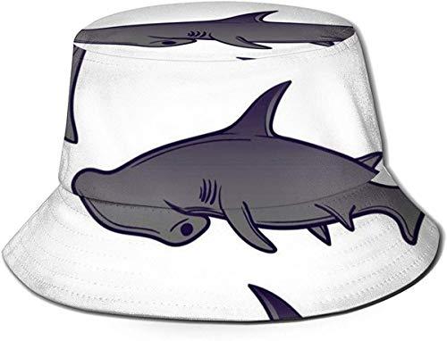 Sombreros de Cubo Transpirables con Parte Superior Plana Unisex Diseño de Perro caniche Sombrero de Cubo Sombrero de Pescador de Verano-Patrón Tiburones Marinos Lindos-Talla única