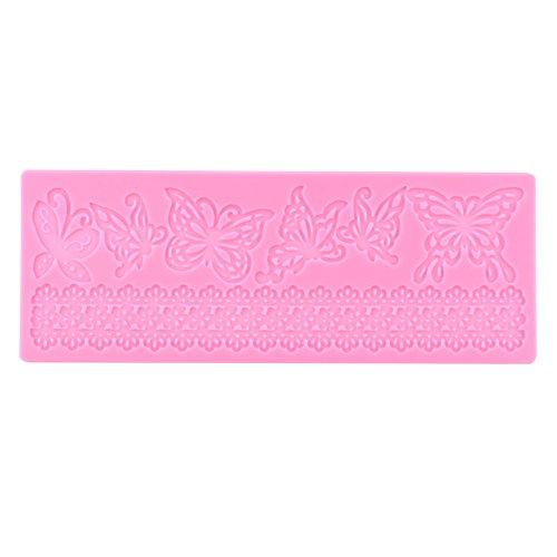 GLOGLOW Farfalla Pizzo Stuoia Torta Pizzo Stampo Torta Decor forniture Forniture Pizzo Fondente Silicone Goffratura Mat Farfalla Pizzo Stampo Colore Rosa