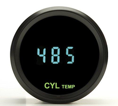 Dakota Digital Round Cylinder Head Temperature CHT Gauge Teal Display Black Bezel ODYR-11-1-K