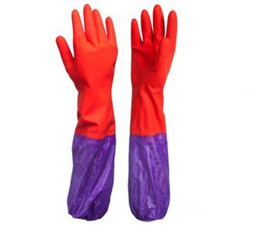 Hiver chaud de plats en caoutchouc Latex laver Nettoyage Gants Rouge 53 cm
