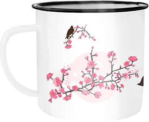 Autiga Emaille Tasse Becher Kirschblüten Vögel Vogel Blumen Blüten Flower Cherry Tree Birds Kaffee-Tasse weiß-schwarz unisize