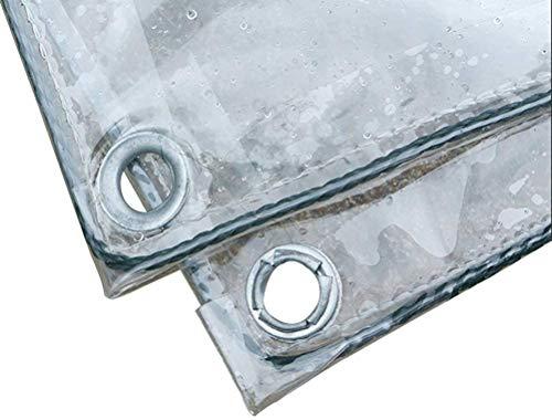 Piccolo telo, telone trasparente con occhielli e bordi rinforzati, tarp in PVC impermeabile impermeabile, 11,8 mil (Color : Clear, Size : 1.2m×3m)