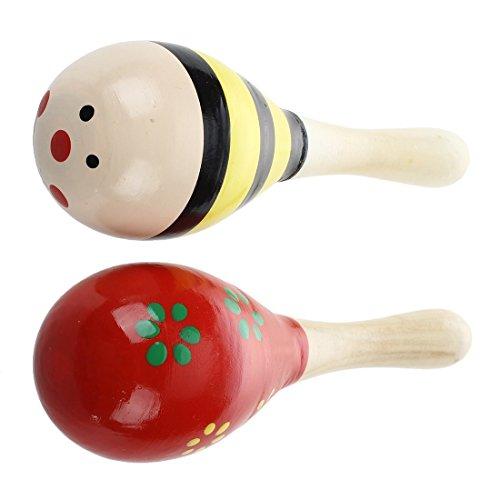 SODIAL(R) 2 X Maracas Bois Jouet Instrument Musical Pour Enfant